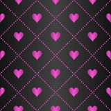 Seamless geometric pattern with hearts on dark background. Vector repeating texture. Royalty Free Stock Photo