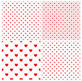 Seamless geometric pattern with hearts, texture, 4 endless red p Royalty Free Stock Photo
