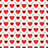 Seamless geometric pattern with hearts. Vector Stock Image