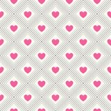 Seamless geometric pattern with hearts. Vector Royalty Free Stock Images
