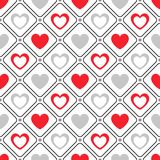 Seamless geometric pattern with hearts. Vector Stock Photos