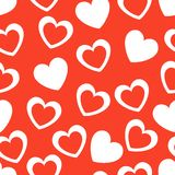 Seamless geometric pattern with hearts. Vector Stock Photo