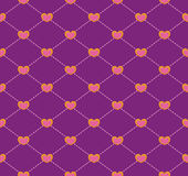 Seamless geometric pattern with hearts. Royalty Free Stock Photo