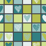 Seamless geometric pattern with hearts. Stock Image