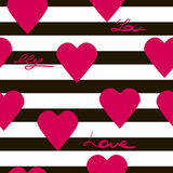 Seamless geometric pattern with hearts vector texture background Stock Photo