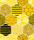 Seamless geometric pattern with honeycomb. Trendy hand drawn textures. Stock Photo