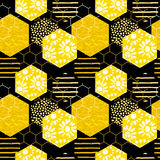 Seamless geometric pattern with honeycomb. Trendy hand drawn textures. Stock Image