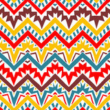 Seamless geometric pattern. Horizontal lines. In the form of a zigzag. Red, blue, yellow and brown colors. Print for your textile. Vector illustration Royalty Free Stock Photography
