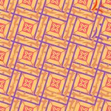 Seamless geometric pattern of interlocking squares in beige with a purple outline. royalty free illustration