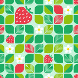 Seamless geometric pattern with leaves, strawberries and blossoms Royalty Free Stock Photo