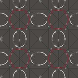 Seamless geometric pattern with belts and buckles. Complex vector print in olive, silver, grey and red. vector illustration