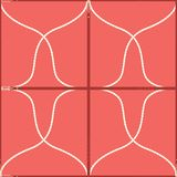Seamless geometric pattern with belts, ropes and buckles. Complex vector print in coral, red and cream. stock illustration