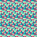 Seamless geometric pattern with mint, yellow, red. Blue and green triangles. stock photography
