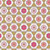 Seamless geometric pattern. Modern vector texture. Repeating abstract background in pink and gold colors Stock Photos
