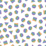 Seamless geometric pattern with multicolored geometric elements for tissue and postcards. Hipsters modern color background. vector illustration