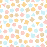 Seamless  geometric pattern with multicolored squares, triangles, circles, pentagons, hexagons and heptagons for tissue and postca Stock Photos