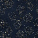 Seamless geometric pattern on navy background with paint splashes. Abstract gold polygonal geometric shapes / crystals