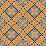 Seamless geometric pattern, orange and blue diamond with a star. Vector illustration Stock Images