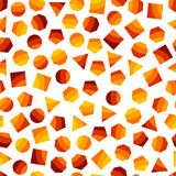 Seamless  geometric pattern with orange squares, triangles, circles, pentagons, hexagons and heptagons for tissue and postcards. Royalty Free Stock Images