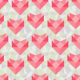 Seamless geometric pattern with origami hearts.  Royalty Free Stock Photography
