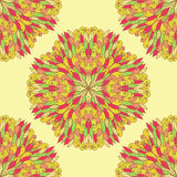Seamless geometric pattern with ornamental flowers Stock Photo