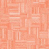 Seamless geometric pattern in patchwork style. Square patches of. Mosaic. Ornament painted by hand. Ethnic and tribal elements. White, orange and coral colors stock illustration