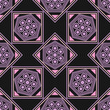 Seamless geometric pattern, pink purple rhombus and a square with a flower. On a black background, vector illustration Stock Photo
