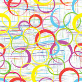 Seamless geometric pattern with rainbow circles. On colorful grunge striped background vector illustration