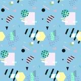 Seamless geometric pattern in retro 80s style, memphis, vector.  Stock Illustration