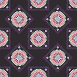 Seamless geometric pattern, rhombus with colorful mandala. On a black background,  illustration Royalty Free Stock Image