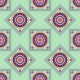 Seamless geometric pattern, rhombus with colorful mandala on gre. En background,  illustration Stock Photo