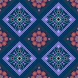 Seamless geometric pattern, a rhombus pattern with beautiful flowers Stock Photo