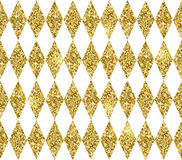 Seamless geometric pattern of rhombuses. Gold glitter texture. Stock Images