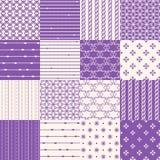 Seamless Geometric Pattern Set. Purple Seamless Geometric Pattern Set Royalty Free Stock Image