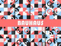Seamless geometric pattern set. Bauhaus design. Background memphis style of the 80s. Vector. Illustration royalty free illustration
