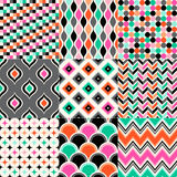 Seamless geometric pattern set. Seamless colorful geometric pattern set Stock Illustration