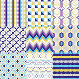 Seamless geometric pattern set Stock Images