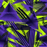 Seamless geometric pattern, sport style. Grunge urban texture. Abstract seamless geometric pattern, colorful sport style. Grunge urban art texture with chaotic stock illustration