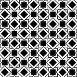 Seamless geometric pattern of squares and rhombuses. Seamless geometric pattern of black and white squares and rhombuses Royalty Free Stock Image