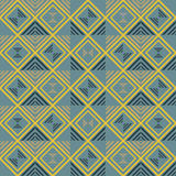 Seamless geometric pattern of squares and striped triangles Royalty Free Stock Images
