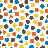 Seamless  geometric pattern with squares, triangles, circles, pentagons, hexagons and heptagons for tissue and postcards. Stock Photos