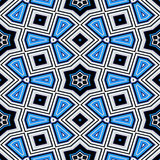 Seamless geometric pattern with stars in blue Royalty Free Stock Photo