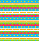 Seamless Geometric Pattern with Stripes and Circles Stock Image