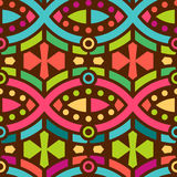 Seamless Geometric Pattern for Textile Design. Ethnic Ornament with Colorful Lines and Circles on Dark royalty free illustration