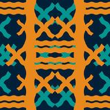 Seamless geometric pattern of thick wavy lines. Abstract print in retro blue and orange colors Royalty Free Stock Image