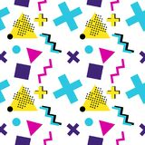 Seamless geometric pattern with triangle, cross, zigzag, rectangle and circle in 90`s style. Seamless geometric pattern with triangle, cross, zigzag, rectangle Royalty Free Stock Photos