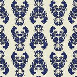 Seamless floral pattern with tulips, poppies and lilies. Complex vector print in blue, black and cream. stock illustration