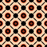 Seamless geometric pattern vector abstract background design of circles with orange spring summer flowers in them connected with b Royalty Free Stock Photos