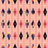 Seamless geometric pattern vector design vintage retro abstract art background with colorful diamond shapes and triangles separate Royalty Free Stock Photos