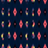 Seamless geometric pattern vector design vintage retro abstract art background with colorful diamond shapes and triangles separate Royalty Free Stock Photography
